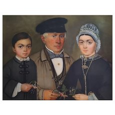19th Century Oil Canvas Painting, French Family Portrait, Circa 1860