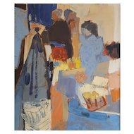 Claude Mancini (1937-2013), Vintage Oil Painting, 1966 French Market Scene