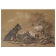19th Century French Pencil Drawing Sheep Painting