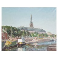 Theodor Ulrichsen (1905-1970, Vintage Oil Cityscape Painting, Circa 1950