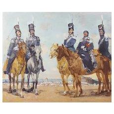 Modern Oil Painting 1988 Horse Military Portrait, Sergei Gavrilyachenko (1956)