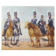 Sergei Gavrilyachenko (1956), Horses Military Portrait, 1988 Oil Painting