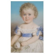 Original Pastel Painting 1821 Child Portrait, Carl Wabel (active 1820-1880)
