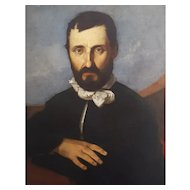 19th Century Large Bearded Man Portrait, Oval Framed Oil Painting