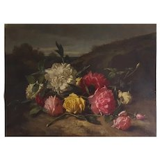 Alexandre Jacques Chantron (1842-1918) Still Life with Roses Painting 1875
