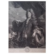 Gérard Edelinck (1640-1707), Man Portrait, Original 18th Century French Engraving