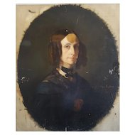 Ange Tissier (1814-1876), Antique Woman Portrait, Oil Painting To be Restored