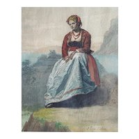 19th Century Watercolor Painting Young Woman Portrait, Spanish Art Signed Vera Calvo