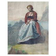 Juan Vera Calvo (1825-1905), Watercolor Woman Portrait 19th Century Painting