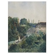 Auguste Herst (1825-1900) Watercolor Painting 1890 French Village Landscape