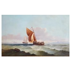 19th Century French Oil  Painting Marine Landscape 1894