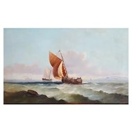 19th Century Oil  Painting, 1894 French Marine Landscape