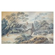French Watercolor Landscape,  19th Century Painting, Unsigned