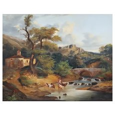 18th Century Oil Painting Italian Country Landscape