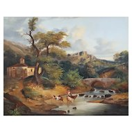 18th Century Oil Painting, Italian Countryside Landscape