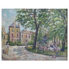 Gustave François Beaudelet (1893-1968), Vintage Oil Landscape, French Park Scene Painting