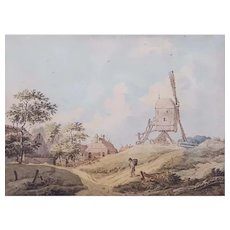 18th Century Watercolor Landscape, Antique Windmill Painting
