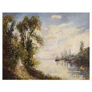 Paul Flaubert (1928-1994), River Landscape Oil Painting, Circa 1970