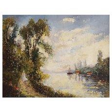 Paul Flaubert (1928-1994), Vintage Painting, River Landscape, Oil Painting, Impressionist Art, Circa 1970