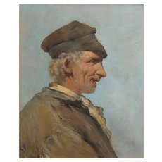Antique Oil Man Portrait, 19th Century French Painting