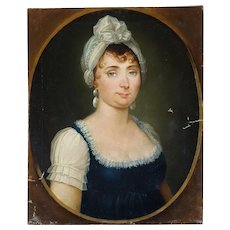 Oil Woman Portrait, French Empire Period Painting, Circa 1810, To be Restored