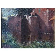 Prosper de Wit (1862-1951), Original Landscape, Oil Water Scene Painting