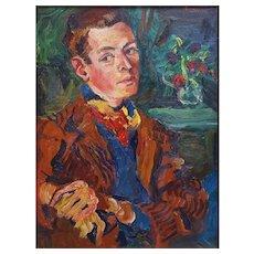 Vintage Painting, Oil Man Portrait, Fauvist Art, Signed Bradley 1939