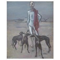 Raymond Feuillatte (1901-1971), Vintage Oil Painting Dog Man Portrait, 1940