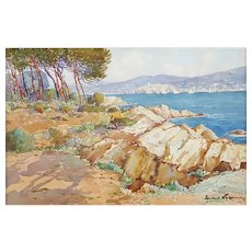 Vintage Watercolor Landscape, Coastal Painting, 1930 French Marine