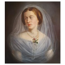 Franz Zalder (1815 - Unknown), Woman Portrait Painting on Canvas, 1857