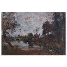 Maurice Lévis (1860-1940), River's Edge Oil Landscape Painting