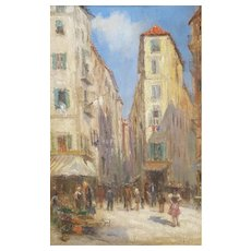 Vintage Oil Painting, French Street Scene