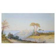 Original 19th Century Watercolor Painting, Orientalist Landscape,  Edwin St. John (active 1870-1910)