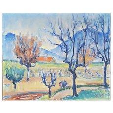 Jacques-Hubert Bonnefoy (1887-1976) Expressionist Vintage Landscape Painting