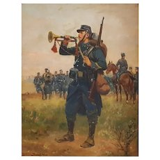 Original Military Portrait, French Painting,  War Scene Painting, Paul Perboyre (1851-1929)