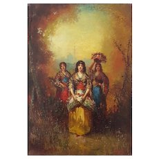 19th Century Orientalist Painting, Circa 1880 Women Scene, Frédéric Borgella (1833-1901)