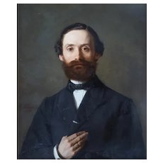 Edmund Blume (1844-1910), 19th Century Oil Man Portrait Painting, 1868