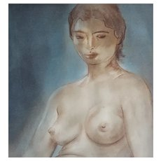 Louis Muhlstock (1904-2001), Nude Woman Pastel Portrait, 1960