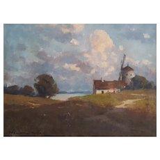 Endre Komaromi-Kacz (1880-1969), Windmill Landscape Painting, Circa 1905