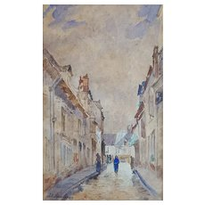 19th Century Watercolor French Village Painting, Jacques Alfred Brielman (1830-1892)