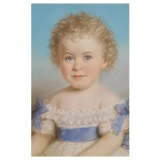 19th Century  Painting Portrait of a Child, Pastel Painting Signed Carl Wabel