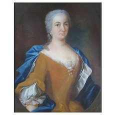 18th Century Woman Portrait Antique French Framed Oil on Canvas, Louis XV Period