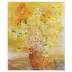 Still Life Oil Painting Vintage Flower Painting Circa 1940