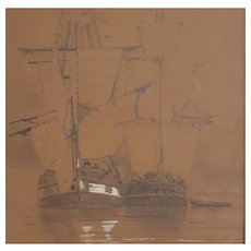 Antique Drawing Boats Painting, Louis Bentabole (1822-1880)