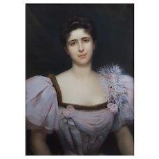Portrait of a Woman Large Antique Pastel Painting, 1896, Georges Roussin (1854-1941)
