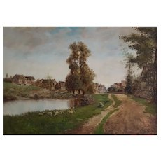 19th Century Oil Painting, French Village Landscape, 1892