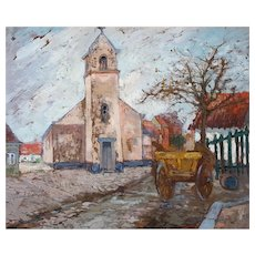 French Village Oil Landscape Painting Gilbert Lanquetin (1870-1939)