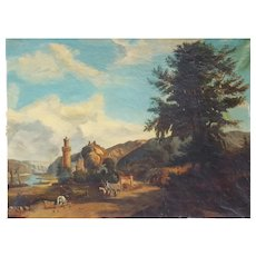 19th Century Landscape with Castle Painting Oil on Canvas to be restored, Circa 1830