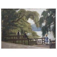 Oil Painting Landscape Lake House Decor, French Impressionist Oil Painting Circa 1890