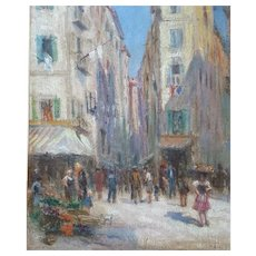 French Vintage Oil Painting on Wood Panel - 1940s Framed Cityscape Landscape Painting